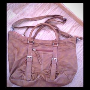 Tan cross body satchel