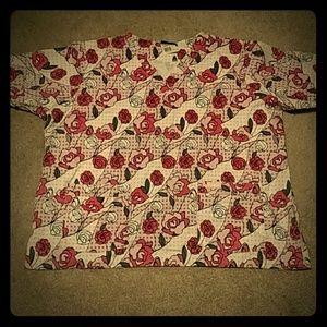 Landau Tops - Pink Rose Scrub Top