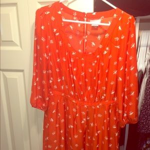 Orange urban outfitters 3/4 sleeve dress
