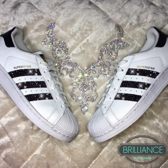 Adidas Superstar White   Black Swarovski Crystals 631a8dcd3b