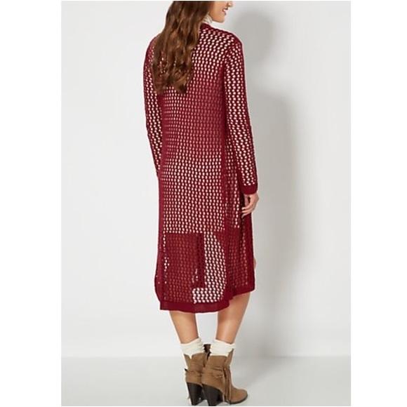 Rue21 Sweaters - 🆕Rue21 Burgundy Fishnet Cardigan Wrap Jacket Boho