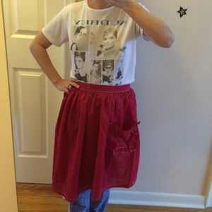 Vintage red apron. Hand sewn