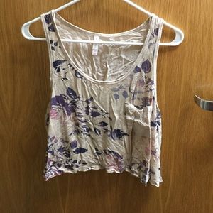 Off white tank top with purple flower pattern