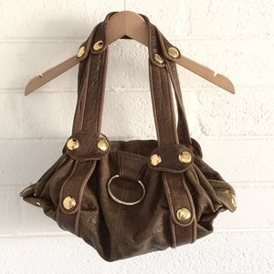 Gustto Brown Leather Gold Hardware Purse Bag