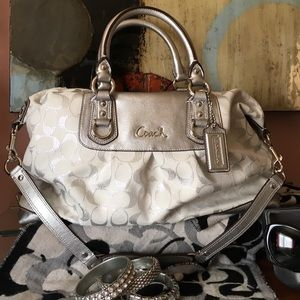 Auth. Silver beauty Coach satchel