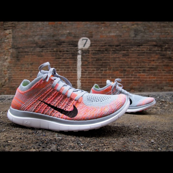 28 off Nike Shoes  NIB Nike Free 40 Flyknit greypinkorange sz
