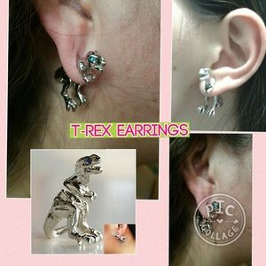 Other - T-Rex Earrings dinosaur women piercing stud earrin
