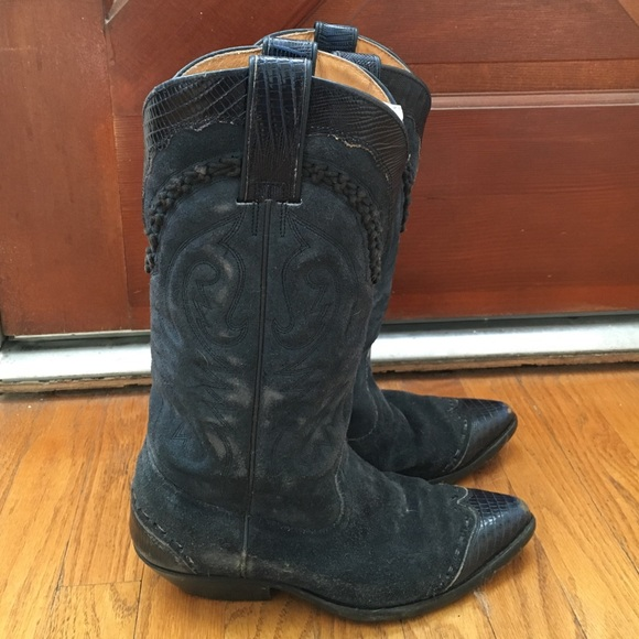 50 vintage shoes vintage blue suede leather cowboy