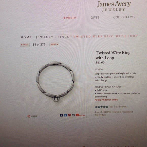 James Avery Jewelry Twisted Wire Ring With Loop Poshmark