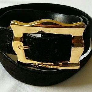 Paloma Picasso Black Suede Belt