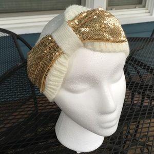 🎀Gold Sequin Bowed Cream Knit Headband Wrap