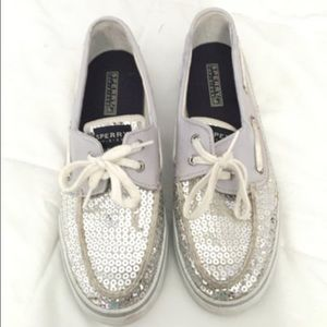 Silver Sequin Sperry's