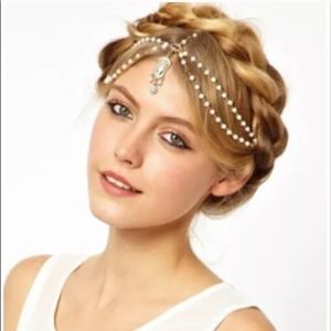 Gold & White Boho Head Jewelry