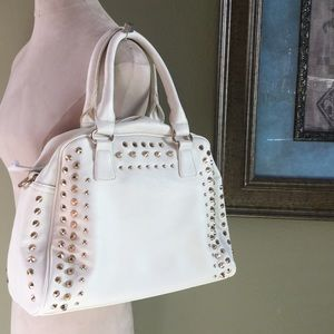 Handbags - White and gold studded handbag