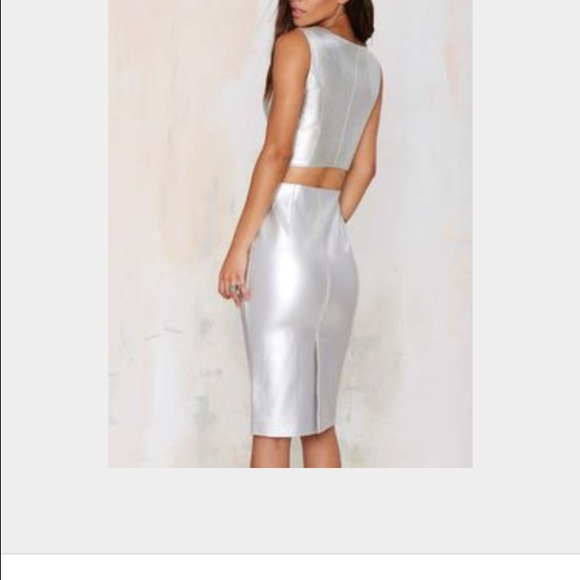 27% off J.O.A. Dresses & Skirts - Silver Faux Leather Pencil Skirt ...