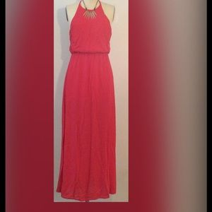Pink/Red Maxi Column Tank Dress
