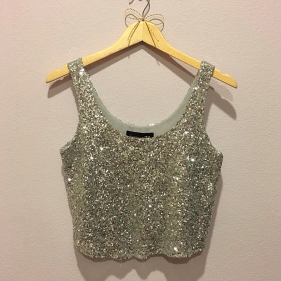 7590d1bf Forever 21 Tops | Silver Glitter Sequin Crop Top | Poshmark