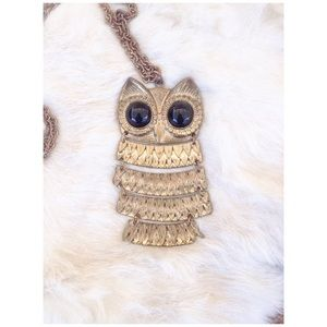Gold and black owl necklace