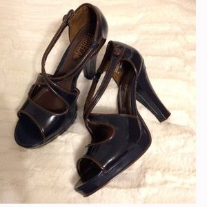 KENNETH COLE Peep-Toe Navy Platform Pumps NEW - 6
