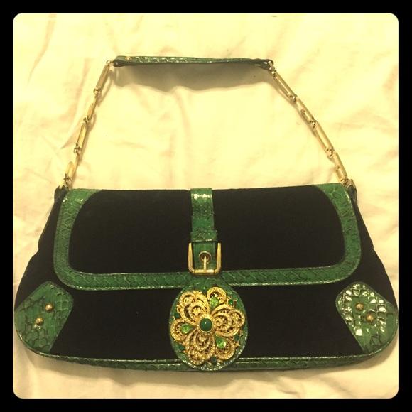 Dolce   Gabbana Handbags - NWOT Dolce   Gabbana velvet snake skin evening  bag c1502e33dbeb0