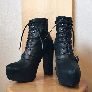 Moto platform buckle lace up ankle booties