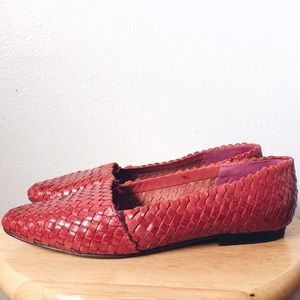 Vintage Shoes - Vintage Pink woven leather loafer flats Valentines