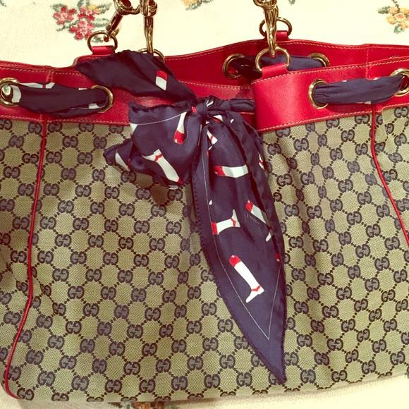 ca64bdd0f4 Gucci Handbags - Gucci canvas scarf tote bag
