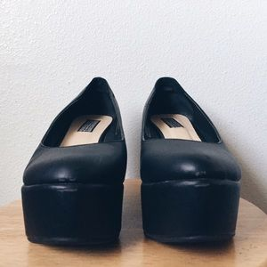 Faux Leather black platform flats / Flatforms