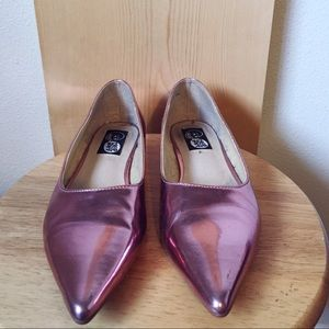 Cheap Monday Shoes - Metallic rose pink pointy flats Valentines