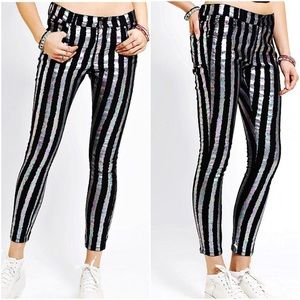 Urban Outfitters holographic stripe skinny jean
