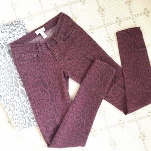 Forever 21 Jeans - Like NEW Forever21 leopard print jeans in wine
