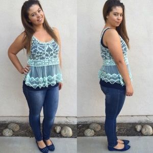 Sale! $8 OFF!! Beautiful Sheer Mint Lace Top