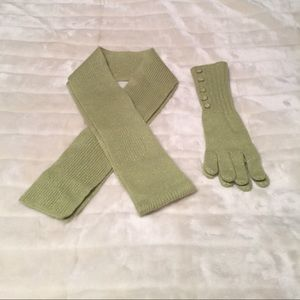 Accessories - Green and Gold Cashmere Scarf and Glove Set