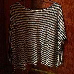 3/4 sleeve striped slouchy shirt