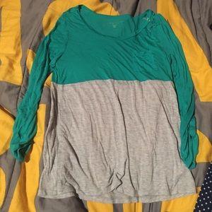 Long sleeve, color block shirt