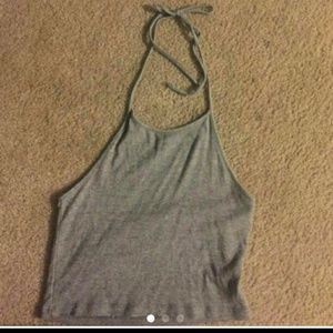 Grey Brandy Melville cropped halter top