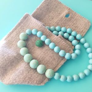 Turquoise Stone Bead Necklace Handmade Mexican