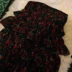 Ruffle leopard Forever 21 Strapless Dress