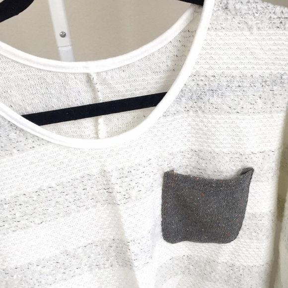 Tops - NEW grey/white stripe knit top w 3/4 sleeves
