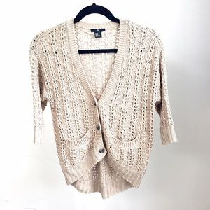 NEW H&M open knit cardigan in tan