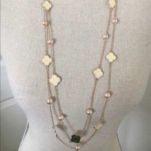 Classy long clover necklace set