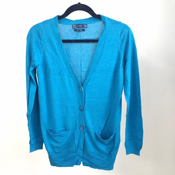 Zara Sweaters - NEW Zara fine knit blue cardigan