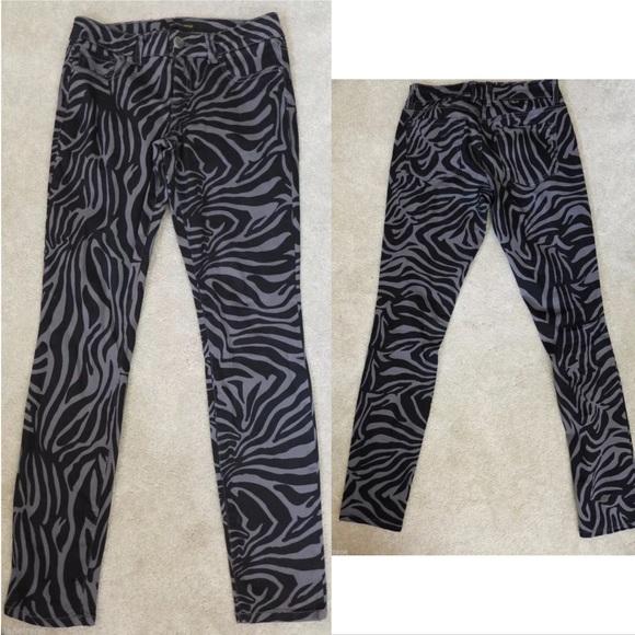 Sacred Virtue Pants - Sacred Virtue Zebra Print Jeggings sz 7 grey black