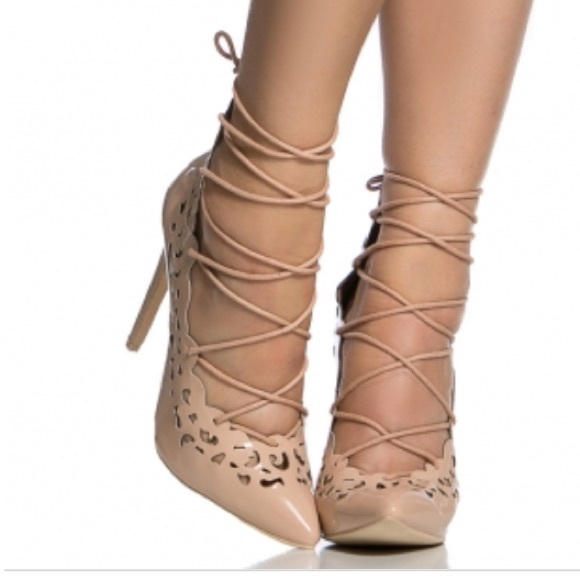 5673979fa8a Cicihot Shoes - Nude patent leather lace up pointed toe heels