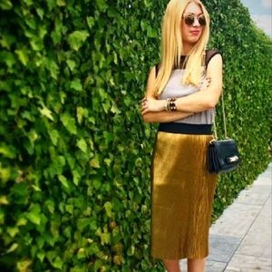 Perfect Condition! Gold micro pleat midi skirt