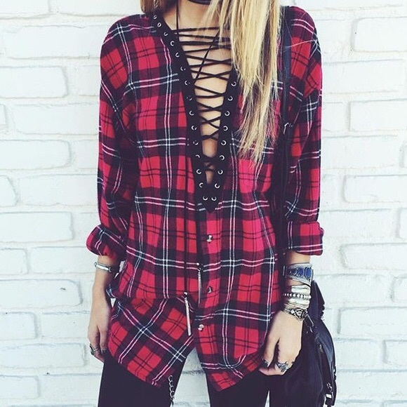 Lace up vintage flannel shirt
