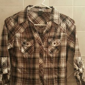 Plaid with gold Body Central button down
