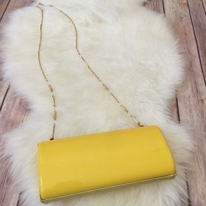 St. John yellow hard case clutch evening bag