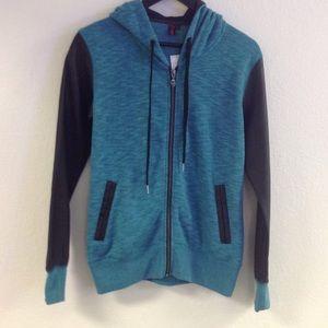 Lake green zip up hoodie w/leather sleeves