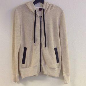 Tan zip up hoodie w/ faux leather trim